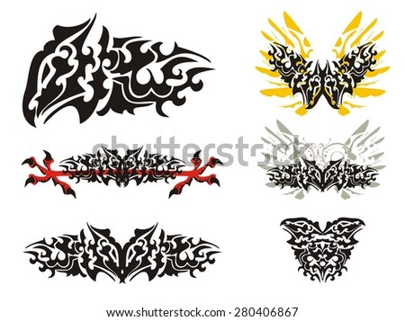 Freakish tribal dragon butterfly set. Freakish awful dragon symbols isolated on a white background - stock vector