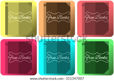 free book icons set - stock vector