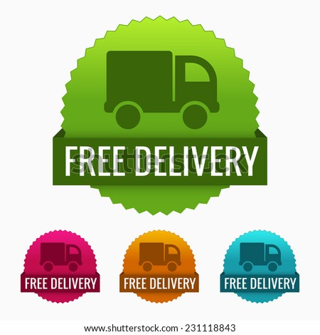 Free delivery badge set - stock vector