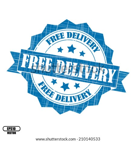 Free delivery rubber stamp, stickers, tag, icon, sign, symbol, badge and label present by blue color for business - Vector. - stock vector
