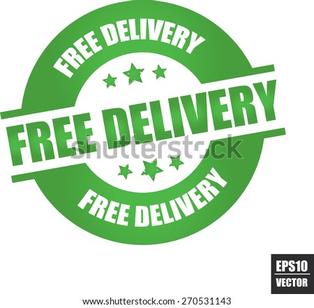 Free delivery rubber stamp with stars green color on white background, vector illustration  - stock vector