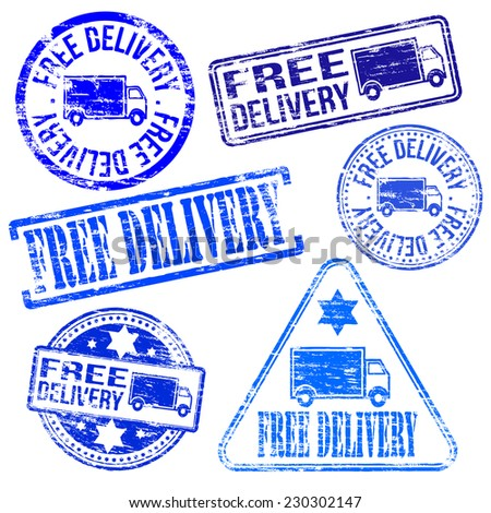 Free delivery stamps. Different shape vector rubber stamp illustrations  - stock vector