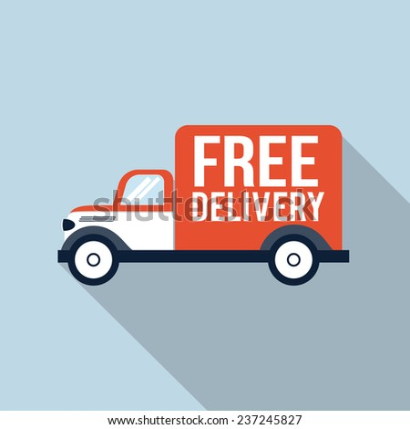 Free delivery truck - stock vector