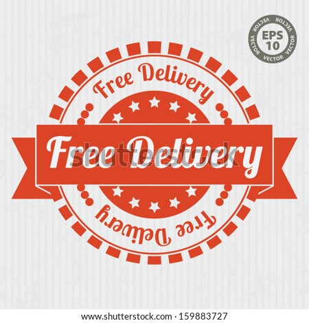 Free Delivery Vintage Stamp with orange color - Vector - stock vector