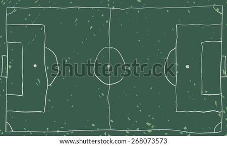 Free hand drawing football board, chalkboard design. - stock vector