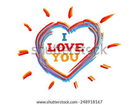Free Hand Outline Sketch of a Multi-colored Heart with Rays. Vector Eps10. - stock vector