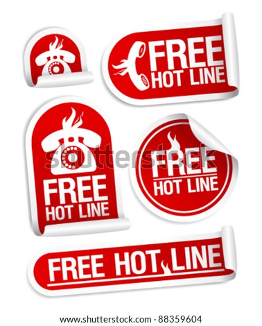 Free Hot Line stickers set. - stock vector