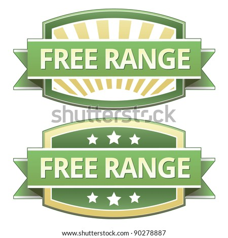 Free range food label, badge or seal with green and yellow color in vector - stock vector
