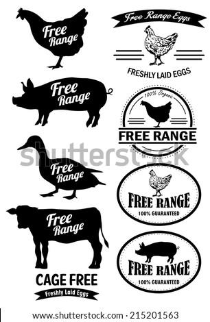 Free Range Meat Labels - stock vector