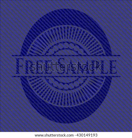 Free Sample emblem with jean background - stock vector