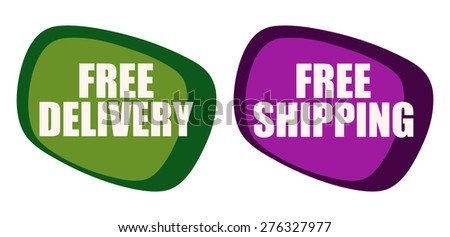 Free Shipping and Delivery Market Stickers, Vector Illustration.  - stock vector