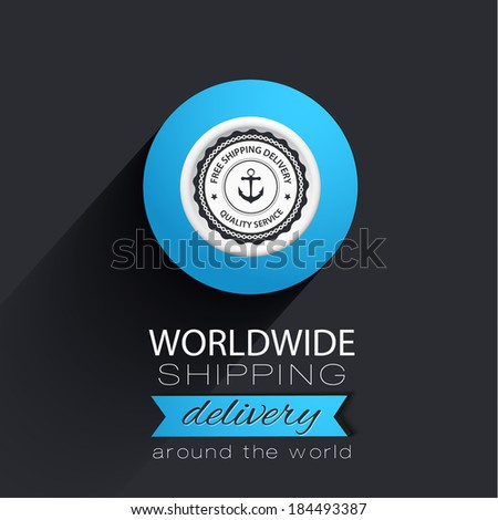 Free shipping badge on blue background with flat shadow - stock vector
