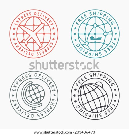 Free shipping badges and stamps. Detailed vector graphics set. - stock vector