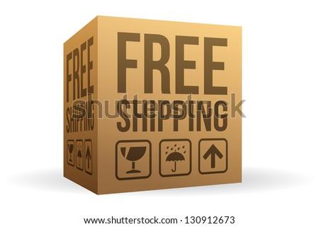 Free Shipping Box - stock vector