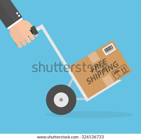 Free shipping concept. Hand pushing hand cart or dolly with a package on it. Free shipping text on the cardboard box. Flat style - stock vector