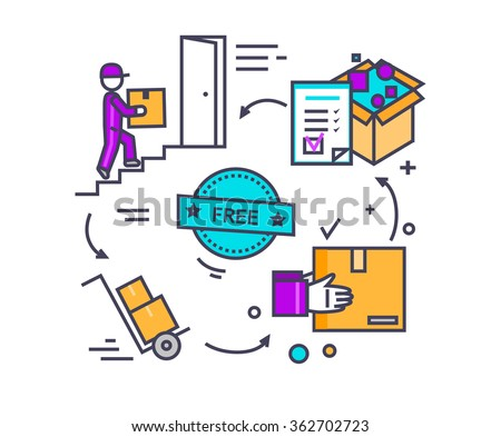 Free shipping concept icon flat design. Delivery order, service transportation, cargo logistic, package box, fast courier, deliver parcel, industry packaging. Thin, line, outline icons - stock vector