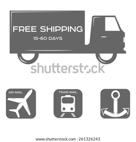 free shipping, delivery methods, black and white style, a set of icons or logos. vector illustration - stock vector