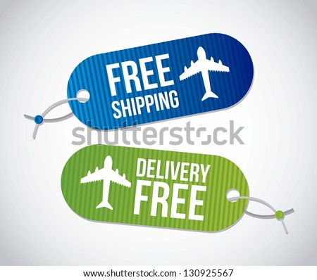 free shipping labels over gray background. vector illustration - stock vector