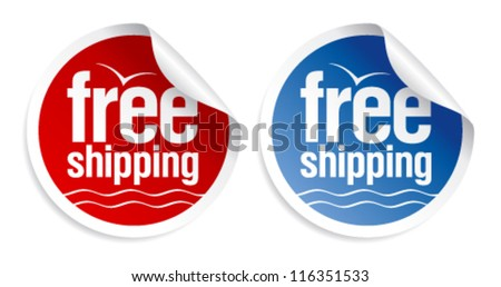 Free shipping stickers set. - stock vector