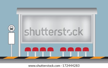 Free space billboard at a bus stop, illustration vector design. - stock vector