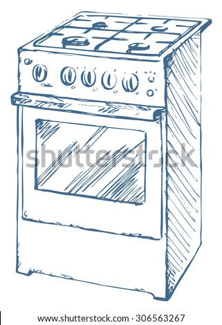 Free standing hotplate with four hob plate and buttons isolated on white. Vector linear freehand ink drawn background sketchy in art scrawl style pen on paper. Front closeup view with space for text - stock vector