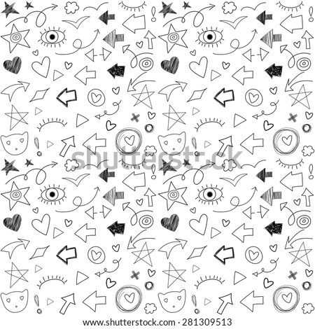 Free style inky hand drawn arrows and symbols set. Abstract icons background. Vector seamless pattern. - stock vector