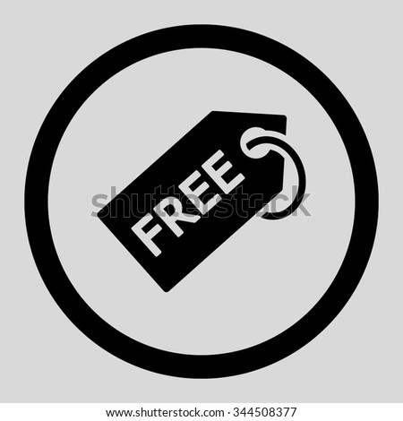 Free Tag vector icon. Style is flat rounded symbol, black color, rounded angles, light gray background. - stock vector