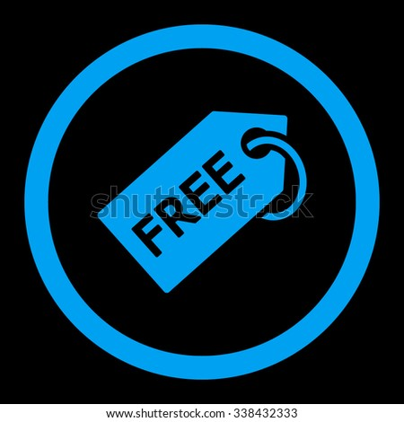 Free Tag vector icon. Style is flat rounded symbol, blue color, rounded angles, black background. - stock vector