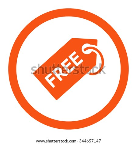 Free Tag vector icon. Style is flat rounded symbol, orange color, rounded angles, white background. - stock vector