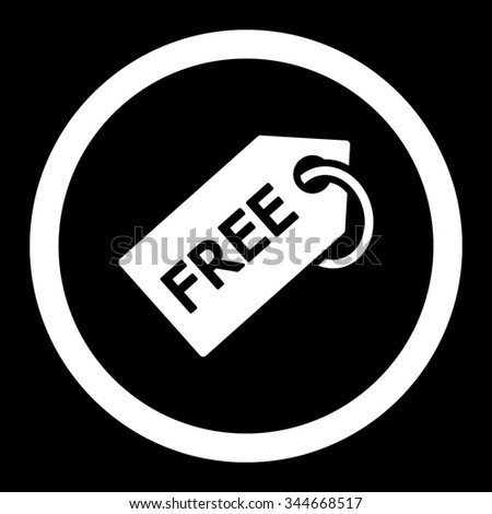 Free Tag vector icon. Style is flat rounded symbol, white color, rounded angles, black background. - stock vector