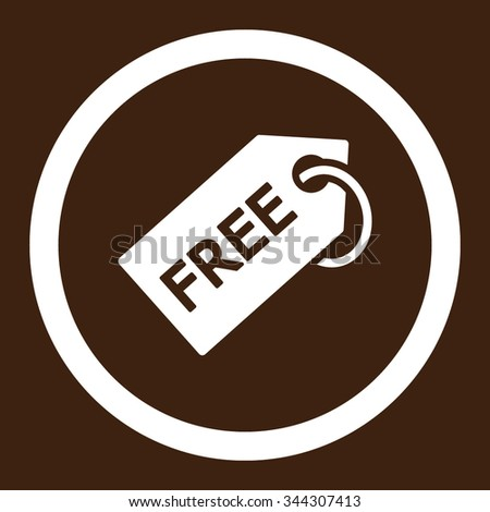 Free Tag vector icon. Style is flat rounded symbol, white color, rounded angles, brown background. - stock vector