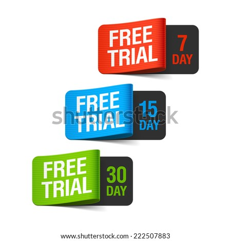 Free trial labels. Vector illustration. - stock vector