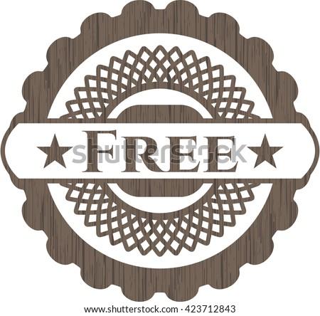 Free vintage wooden emblem - stock vector