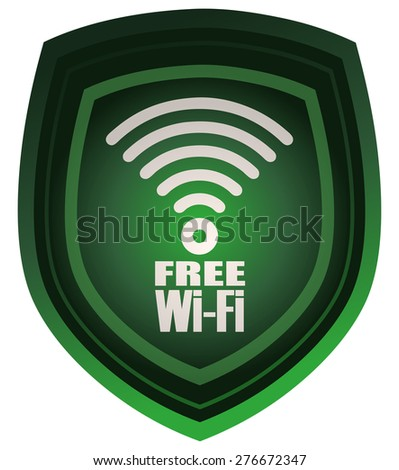 Free Wi-Fi sign on a Green Shield, Vector Illustration.  - stock vector