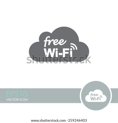 Free Wi-Fi vector icon. Wi-Fi symbol. Wi-Fi zone icon. Wireless Network symbol. - stock vector