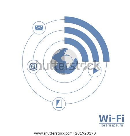 Free wi-fi zone concept scheme. Wireless technology. - stock vector