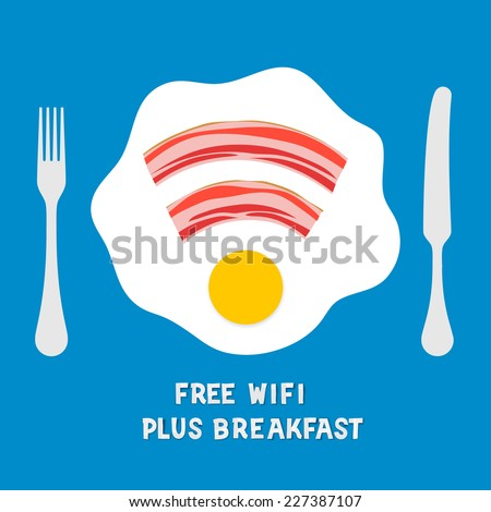 Free wifi area sign on a plate of breakfast with fried eggs and bacon, vector illustration.  - stock vector