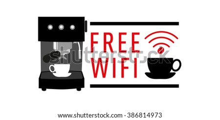 Free Wifi banner icon for Restaurant Cafe Coffee shop - stock vector