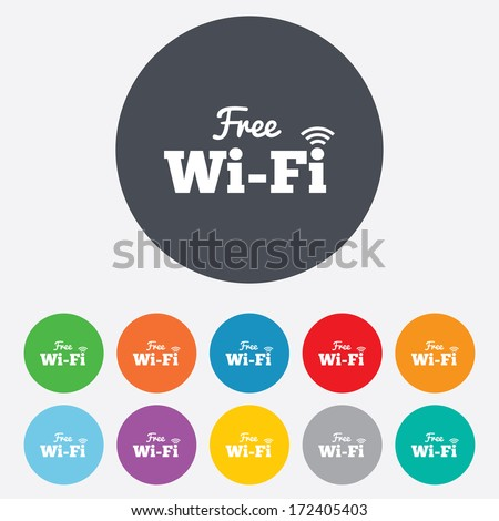 Free wifi sign. Wifi symbol. Wireless Network icon. Wifi zone. Round colourful 11 buttons. Vector - stock vector