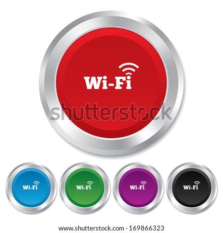 Free wifi sign. Wifi symbol. Wireless Network icon. Wifi zone. Round metallic buttons. Vector - stock vector