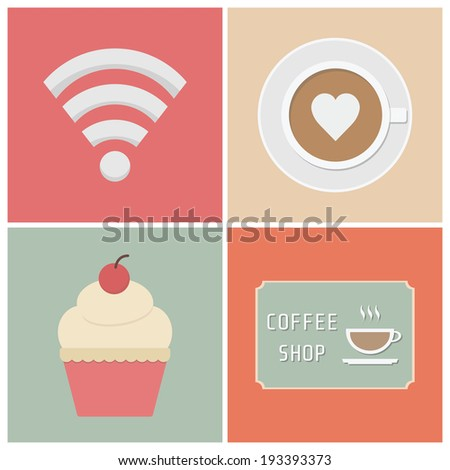 free wifi symbol, cup of coffee, cake andsign, flat style - stock vector