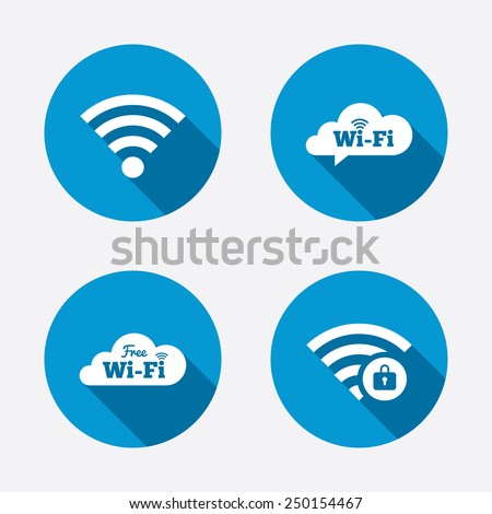Free Wifi Wireless Network cloud speech bubble icons. Wi-fi zone locked symbols. Password protected Wi-fi sign. Circle concept web buttons. Vector - stock vector