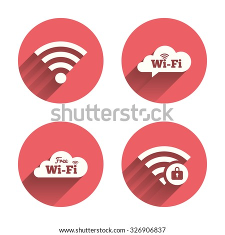 Free Wifi Wireless Network cloud speech bubble icons. Wi-fi zone locked symbols. Password protected Wi-fi sign. Pink circles flat buttons with shadow. Vector - stock vector