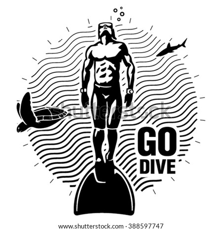 Freediver under water with monofin. Illustration in the engraving style - stock vector
