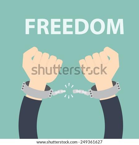 Freedom concept - Male hands breaking steel - stock vector