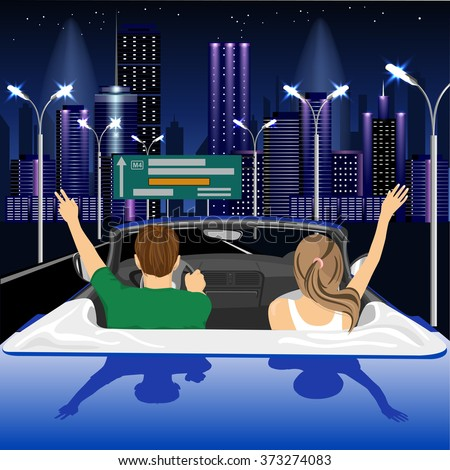 Freedom - happy free couple driving in cabriolet car in night city cheering joyful with arms raised - stock vector