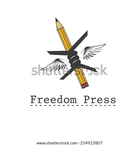 freedom press concept vector design template - stock vector