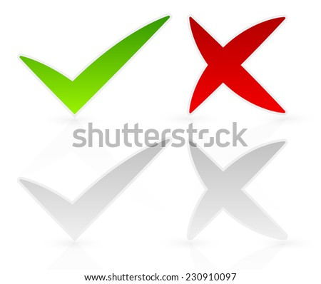 Freeform check mark, cross - stock vector