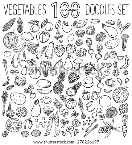 Freehand color  drawing vegetables and fruits on white. Vector illustration.  - stock vector