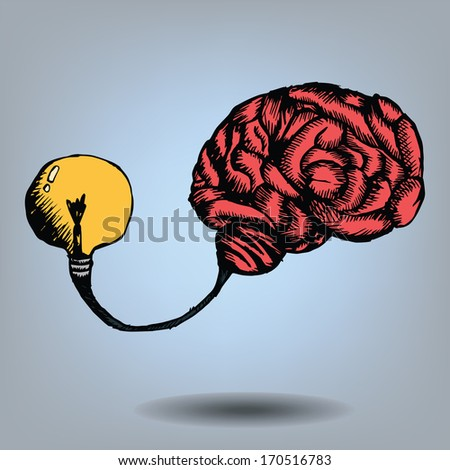 Freehand drawing brain and bulb light, Vector - stock vector